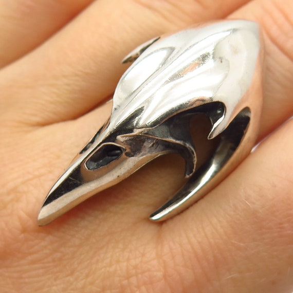 925 Sterling Silver Modernist Eagle Head Design St