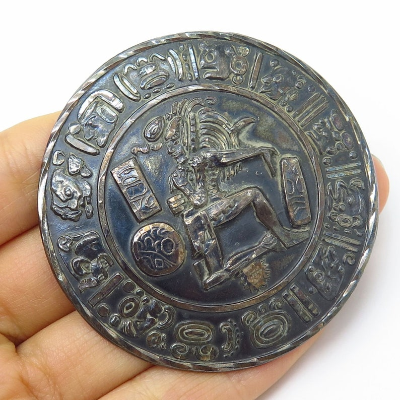 Vintage Mexico Signed 925 Sterling Silver Mayan Calendar Large Pin Brooch  Pendant