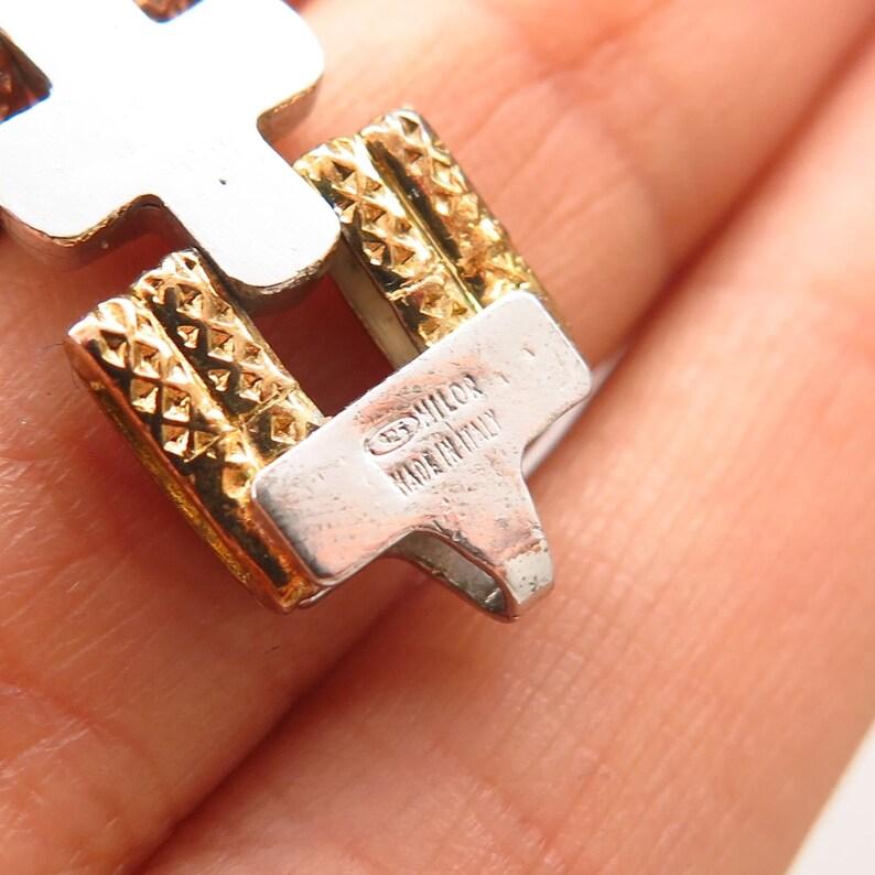925 Sterling Silver Vintage Italy Milor 3 Tone Cross Link Bracelet 7