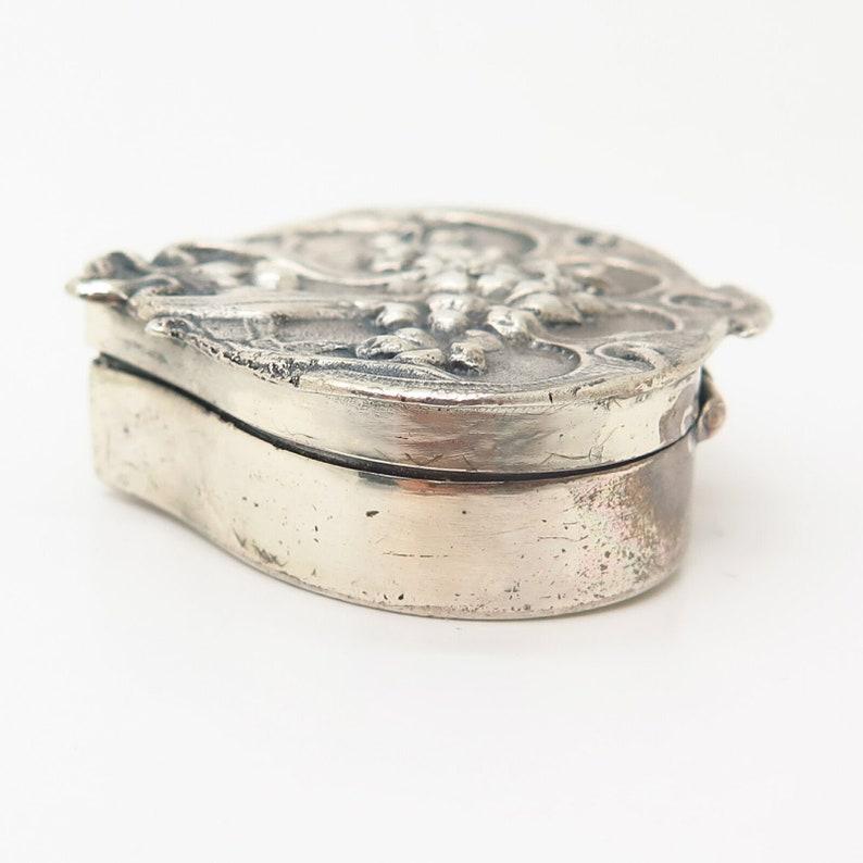 925 Sterling Silver Vintage Art Nouveau Style Pill Box