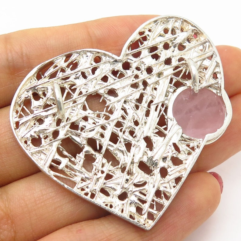 925 Sterling Silver Rose Quartz Gem Ornate Heart Design Slide Pendant