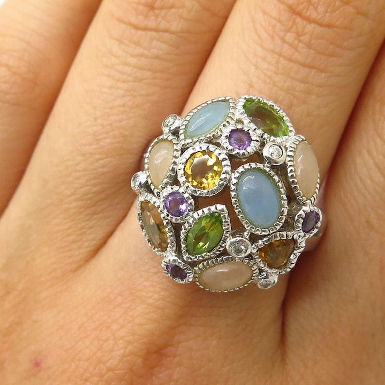 925 Sterling Silver Multi Color Gemstone Cluster Design Ring Size 7