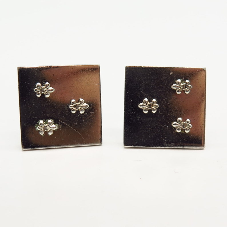 Fleur-De-Lis Design Cufflinks 925 Sterling Silver Vintage Swank Inc