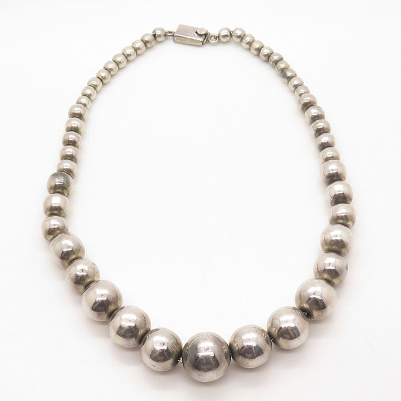 Mexico Vintage 925 Sterling Silver Graduated Bead Chain Necklace 14