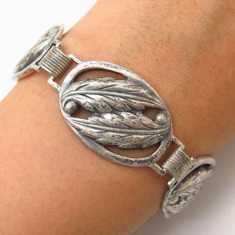 925 Sterling Silver Vintage Danecraft Leaf Cutout Link Bracelet 7.5