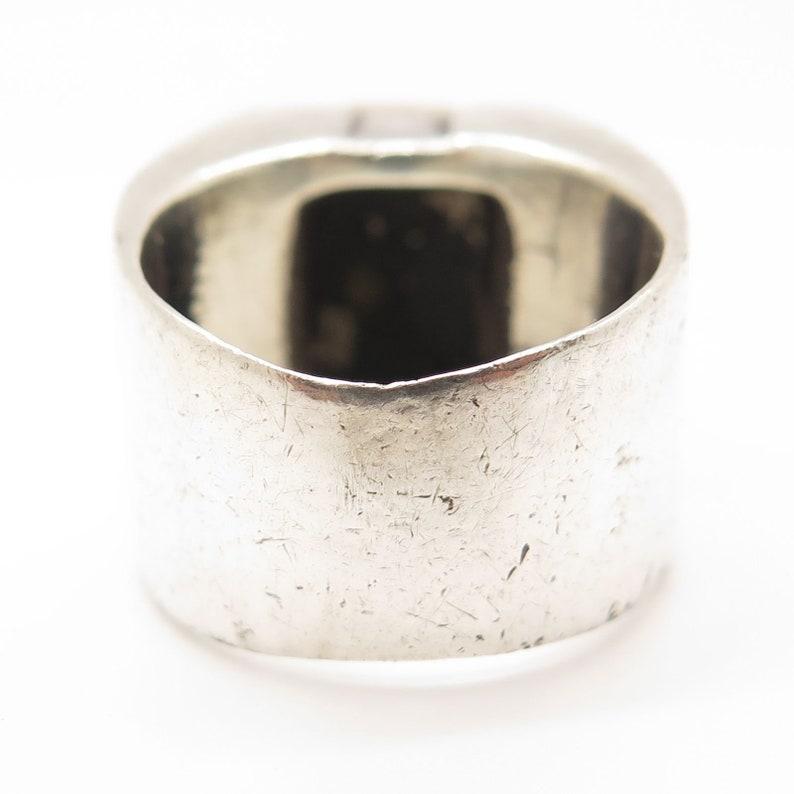 Vintage Michael Dawkins 925 Silver Gold Wide Signet Ring Size 7.5
