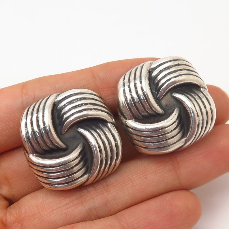 925 Sterling Silver Vintage Mexico Square Clip On Earrings