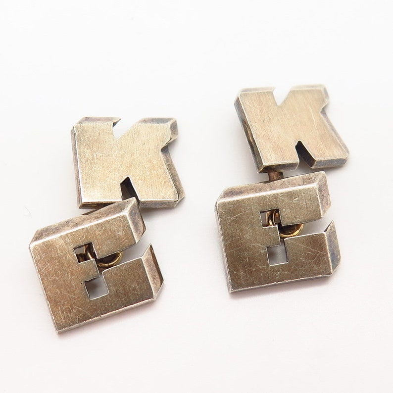 925 Sterling Silver Gold Plated Vintage KE Personalized Cufflinks
