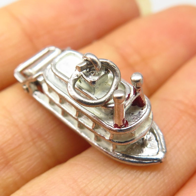 Vintage Signed 925 Sterling Silver Enamel Steamboat Moveable Charm Pendant