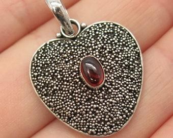 925 Sterling Silver Vintage Real Red Garnet Gem Bead and Heart Pendant