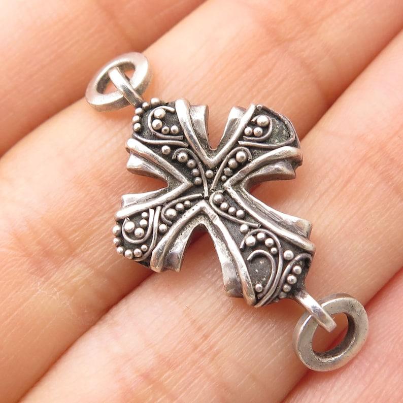 925 Sterling Silver Cross Pendant Jacket Part Of Bracelet