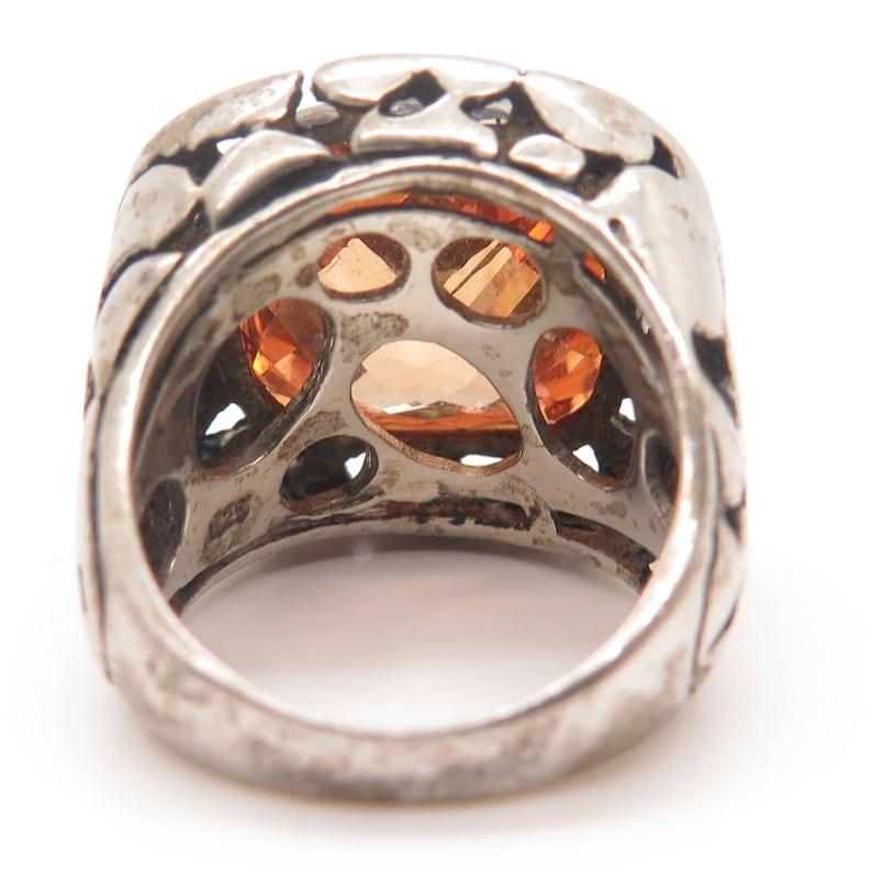 925 Sterling Silver Large Cognac CZ Modernist Ring Size 5 34