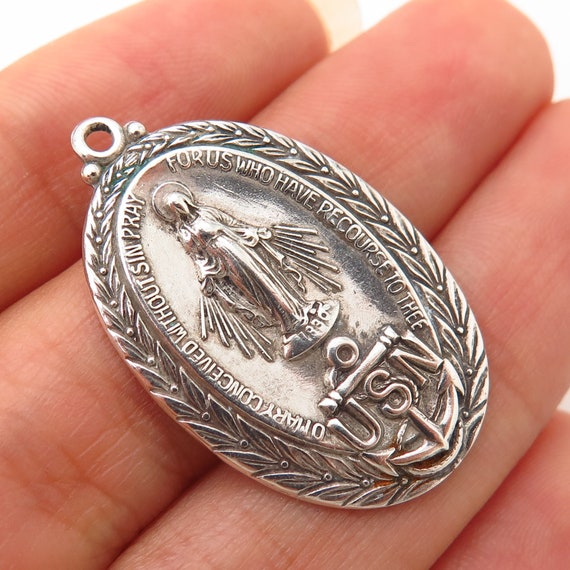 925 Sterling Silver Vintage Old Stock St Mary Miraculous Medal Charm Pendant