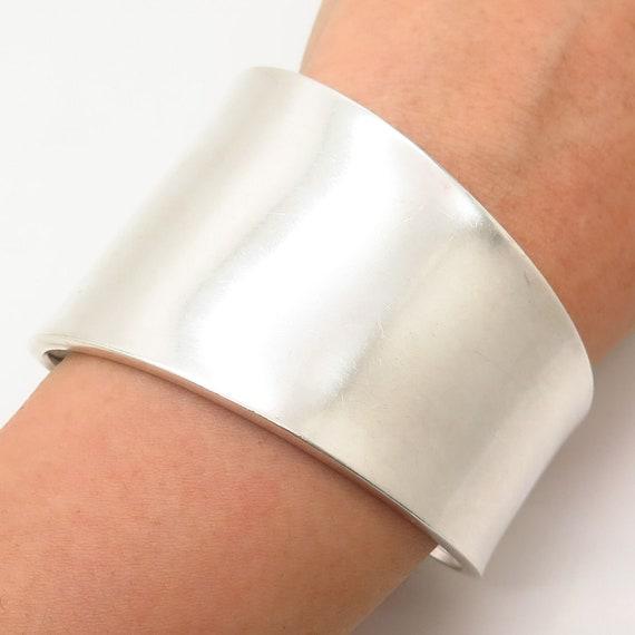 Mexico Vtg 925 Sterling Silver C Z Wide Adjustable Cuff Bracelet 6.5