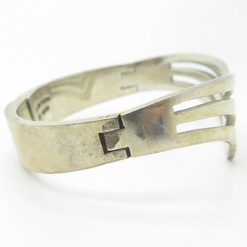 Mexico Vtg 925 Sterling Silver Wide Modernist Bangle Bracelet 7