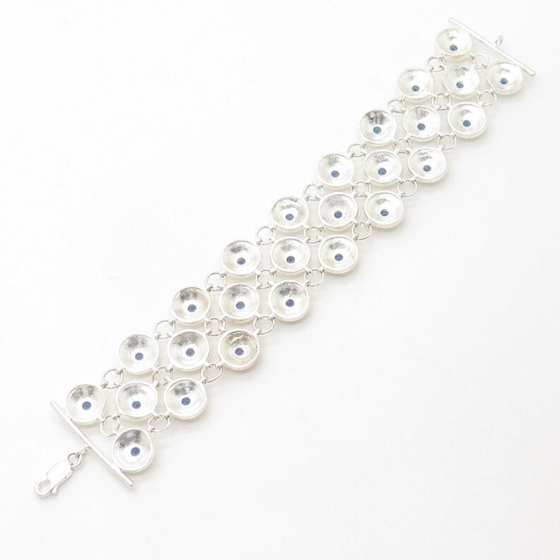 925 Sterling Silver Blue Crystal Wide Link Bracelet 7.5