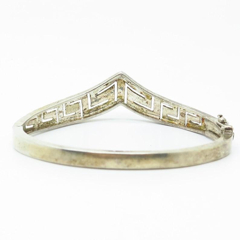 925 Sterling Silver Greek Maze Design V Style Hinged Bangle Bracelet 7