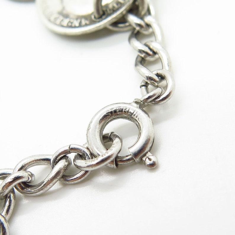 Vtg 925 Sterling Silver Assorted British Coins Dangling Cable Link Bracelet 7