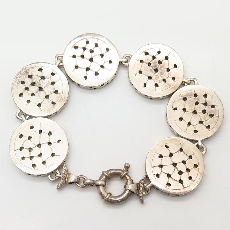 925 Sterling Silver Republica Italiana Coin Design Link Wide Bracelet 7