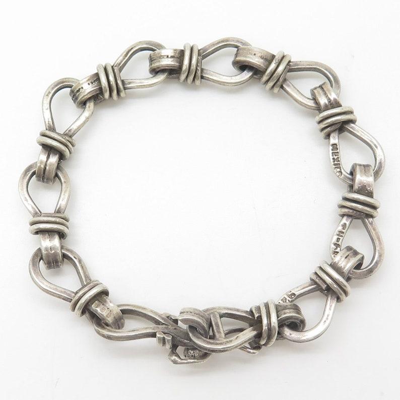 Vtg Signed Mexico 925 Sterling Silver Wide Sailor Knot Link Artisan Bracelet 6