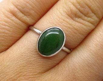 925 Sterling Silver Vintage Real Jade Gemstone Ring Size 5 3/4