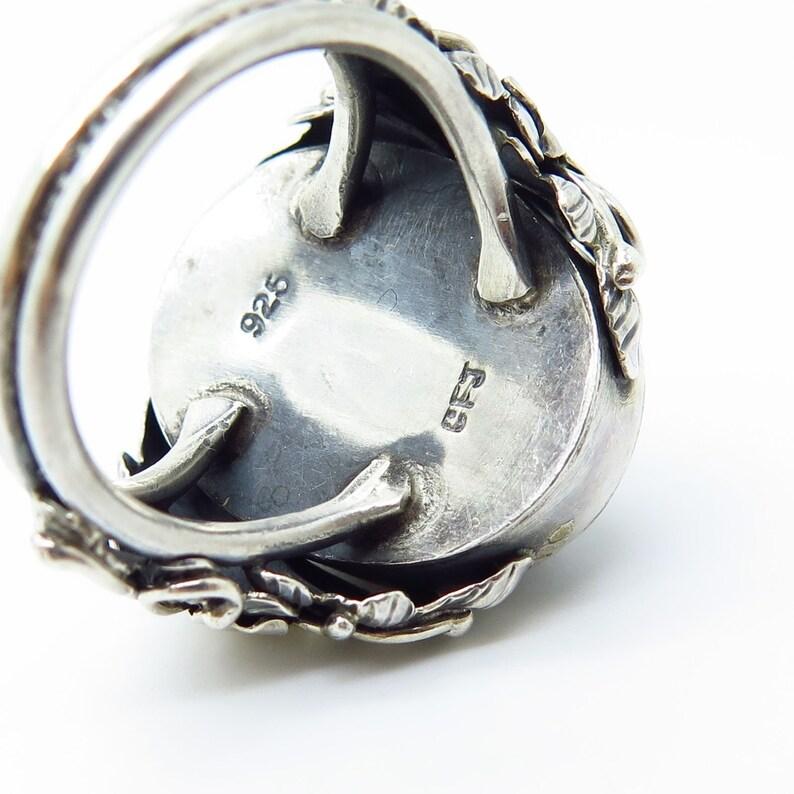 Signed 925 Sterling Silver Real Large Melanite Gem Floral Wide Ring Size 6.5