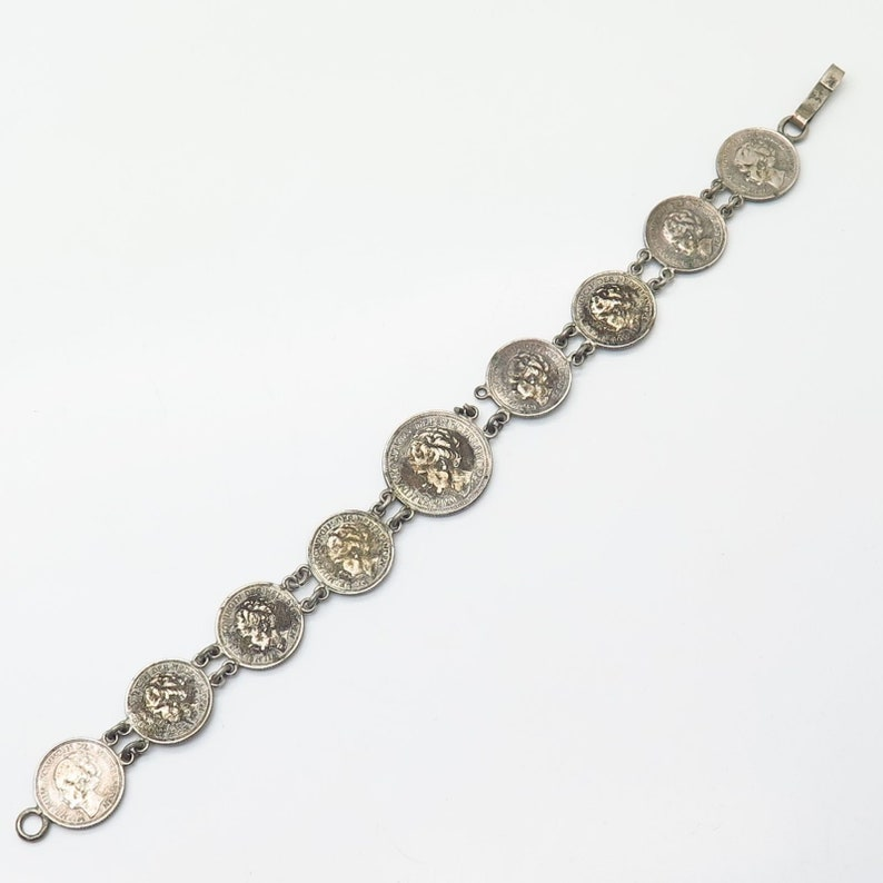 640 Silver Antique 1940s Wilhelmina Koningin Assorted Coin Link Bracelet 7 14