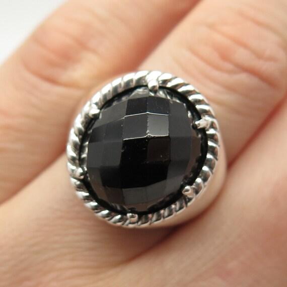 925 Sterling Silver Vintage Real Black Onyx Gem Wavy Design Cuff Bracelet 7