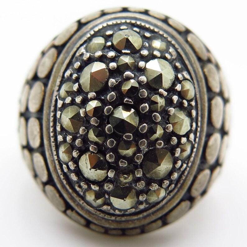 Vtg 925 Sterling Silver Marcasite Gemstone Wide Granulated Ring Size 8