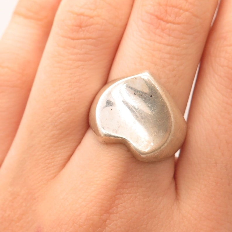 925 Sterling Silver Wide Modernist Heart Ring Size 8
