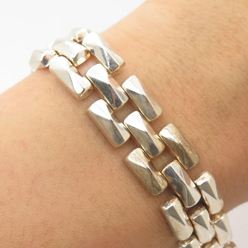 Italy Milor 925 Sterling Silver Wide Link Bracelet 7 14