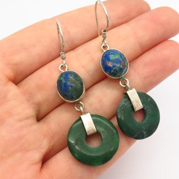 Sajen Opalite Amethyst  Drop//Dangle Earrings Sterling Silver .925 Sea Opal