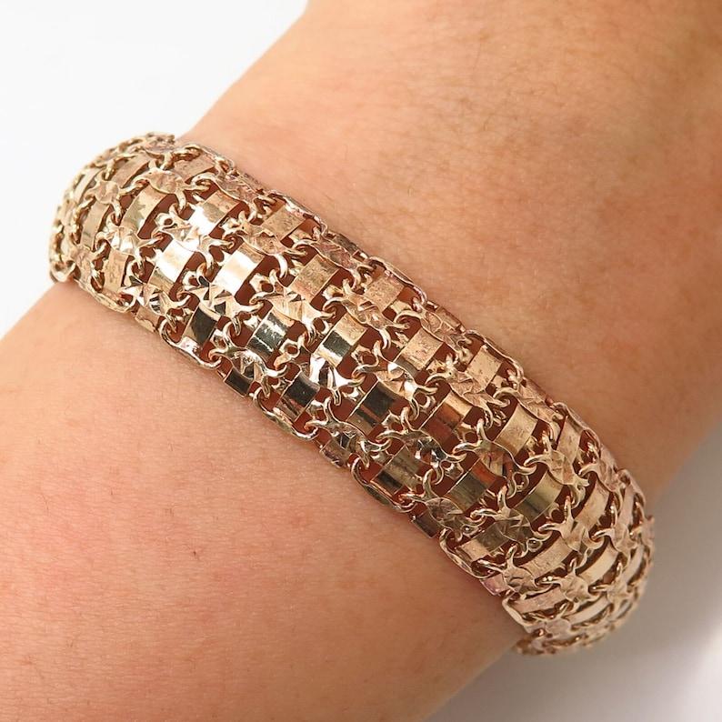 925 Sterling Silver Gold Plated Domed Panel Link Bracelet 7 1/4