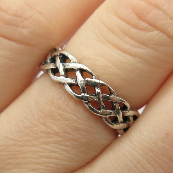 Vintage Sterling Silver Fine Triple Knot Band Ring Size L