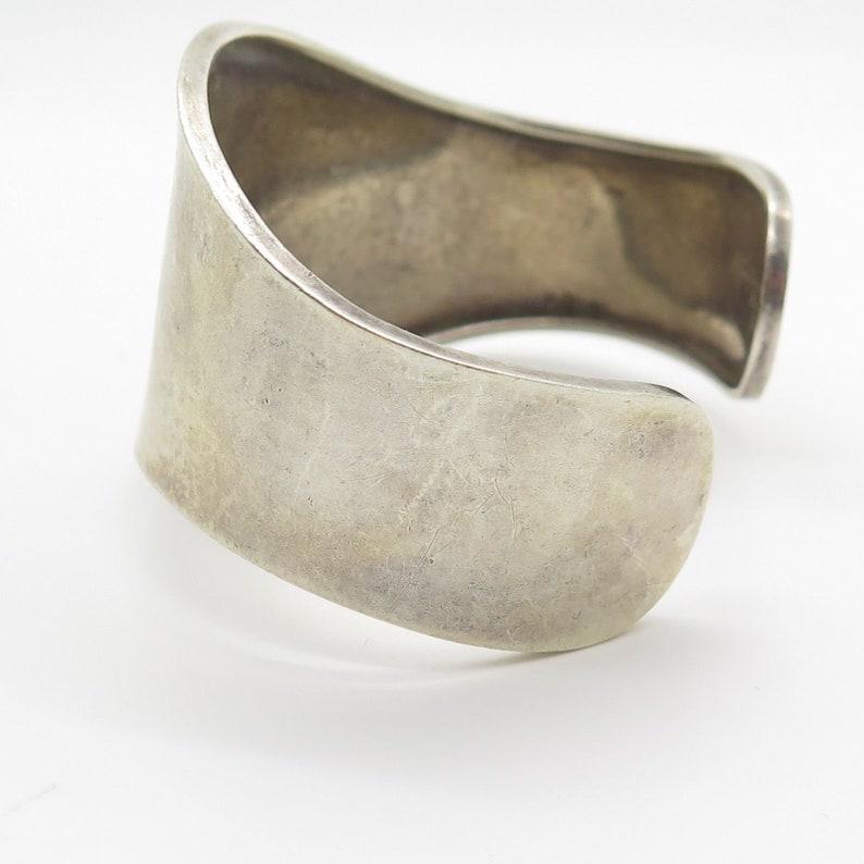 Mexico 925 Sterling Silver Wide Modern Cuff Bracelet 6.5