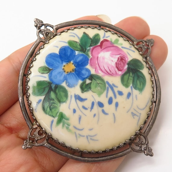 925 Sterling Silver Antique France Limoges Porcela