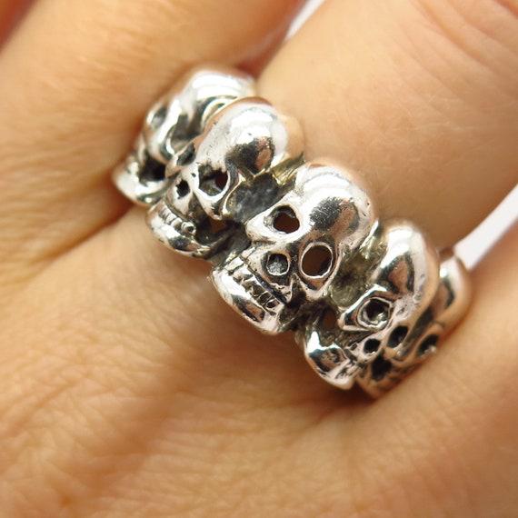 925 Sterling Silver Skull Design Biker Band Ring S