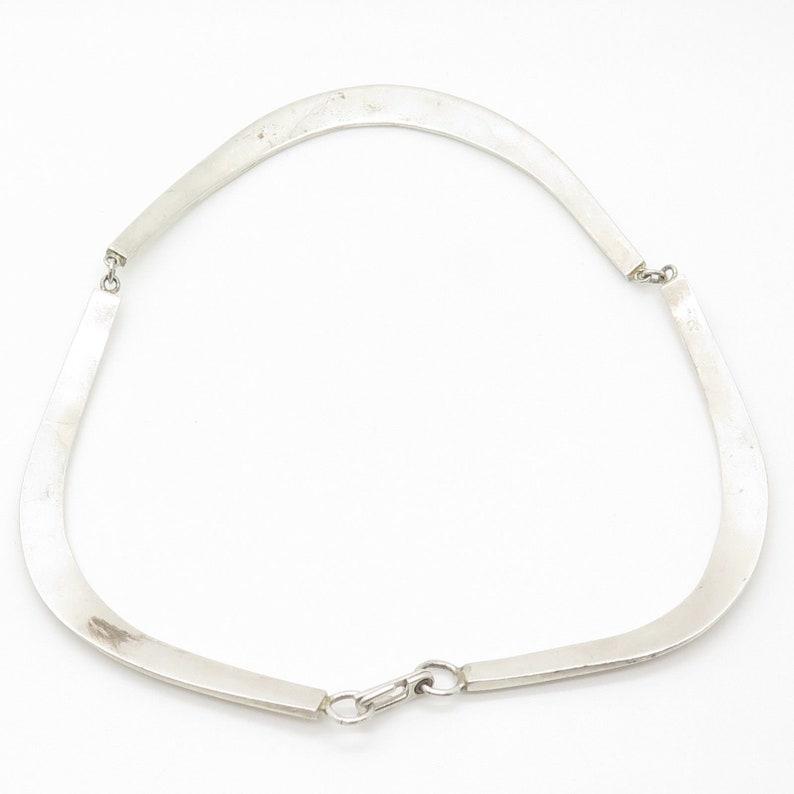 Signed Vtg 925 Sterling Silver Wide Necklace 14