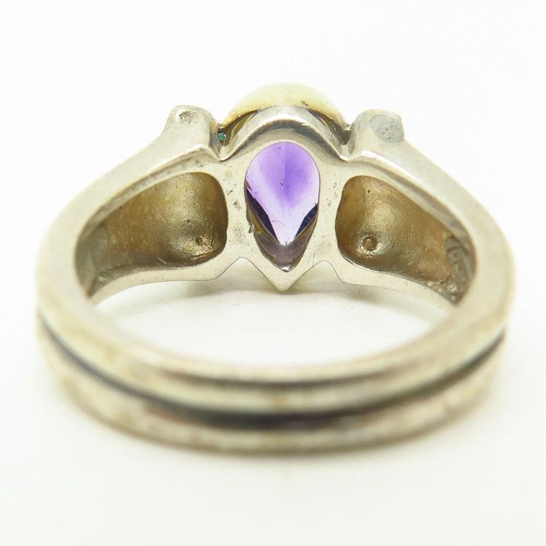 Bill Blass 925 Sterling Silver  18K Real Amethyst Gemstone Ring Size 6 14