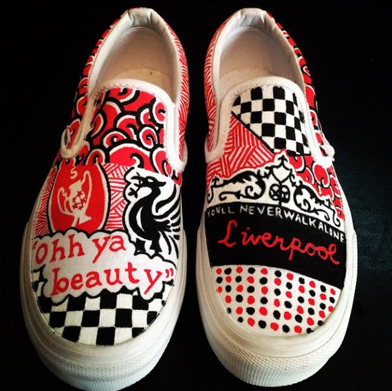 6330c33177 Items similar to Custom Designed Vans - Liverpool Football Club on Etsy