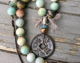Old Chinese Coin with hand knotted Large Amazonite Beads and leather by SeeJanesBeads