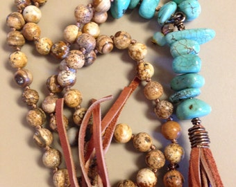 Western Boho Leather Tassel Turquoise Nuggets hand knotted by SeeJanesaBeads