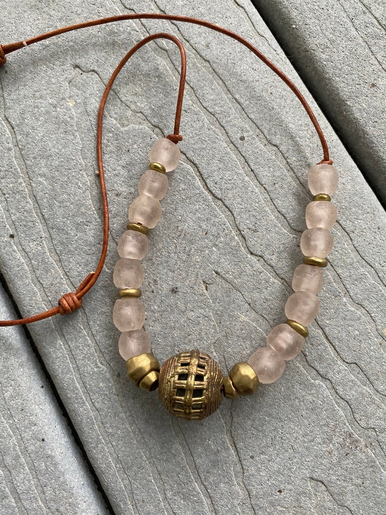 Pretty In Pink African Recycled Glass and Brass Beads Adjustable Leather Cord By SeeJanesBeads