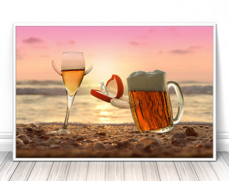 Romantic wall art beer poster high quality print sunset image 0