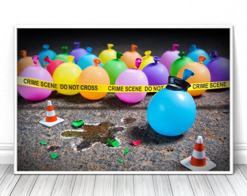 Balloon crime scene Creative comic modern fine art print image 0