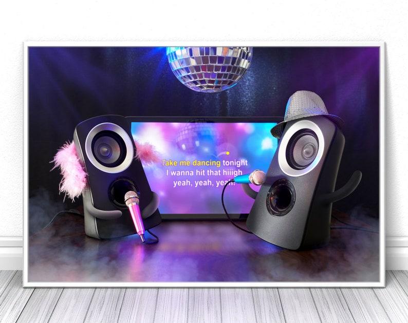 Karaoke singing Speakers couple print Disco party comic image 0
