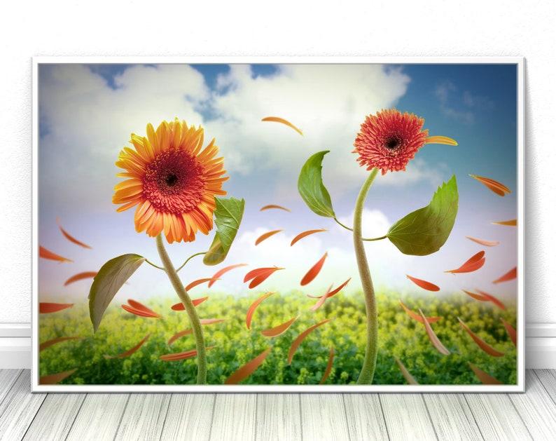 Romantic Flower print Bedroom decor Floral wall art image 0