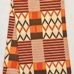 "African Print Fabric/ Ankara - Brown, Orange, Cream ""Sweet Potato"" Kente, YARD or WHOLESALE"