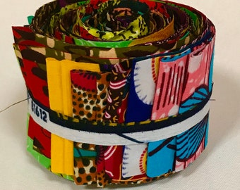 """Jelly Roll Fabric - African Print Designs/ Ankara, Strip Roll Precut Quilting 2.5"""" Strips, Multiple Quantities Available"""