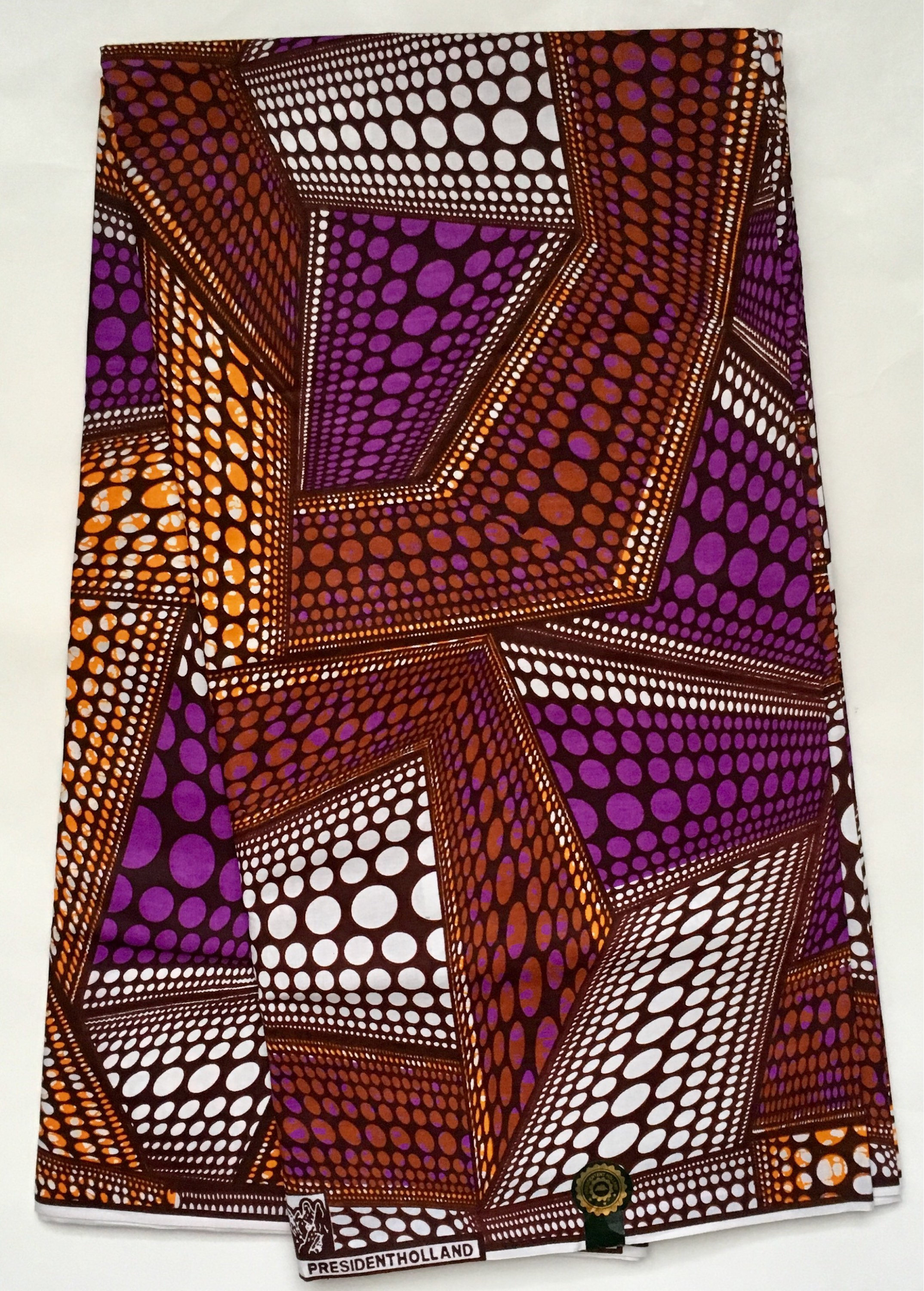 African Print Fabric Dutch Wax Ankara Purple Orange Etsy